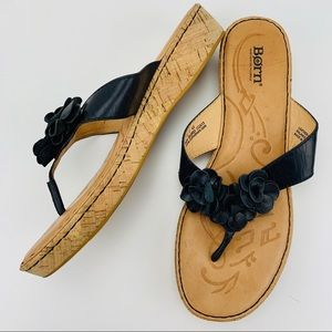 Born Kornelia Leather Cork Platform Thong Sandal